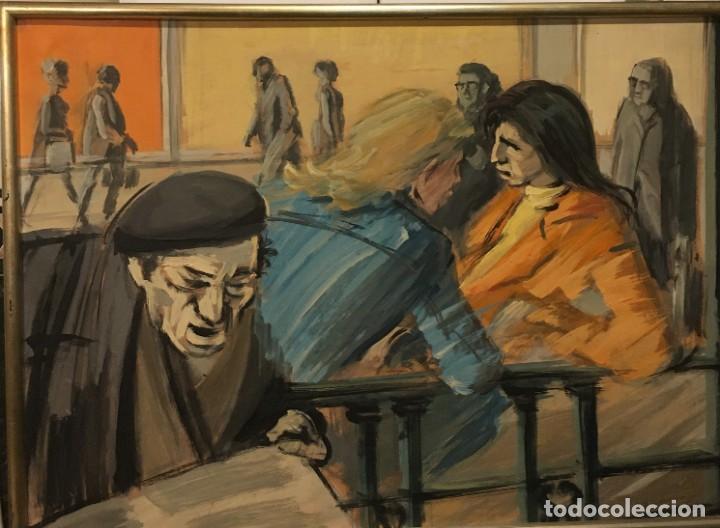Arte: Paisano leyendo por Manuel Mampaso Bueno (La Coruña 1924-2001) - Foto 3 - 185769428