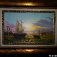 Arte: OLEO PUERTO DE PESCADORES DE SERRALTA. Lote 185774050