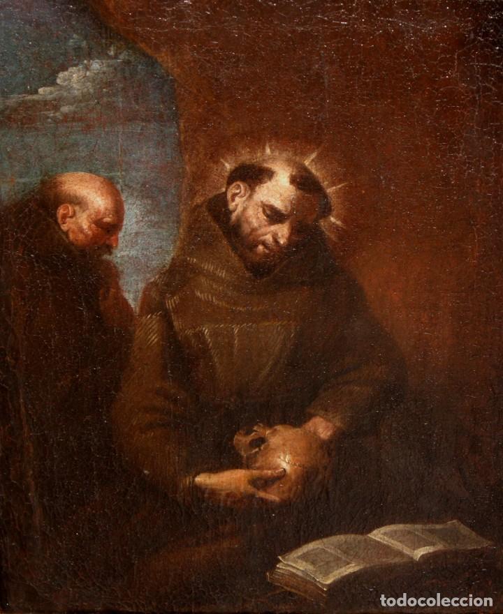 SAN FRANCISCO DE ASÍS - SG XVIII - OLEO TELA - MARCO DORADO DE EPOCA. (Arte - Pintura - Pintura al Óleo Antigua siglo XVIII)