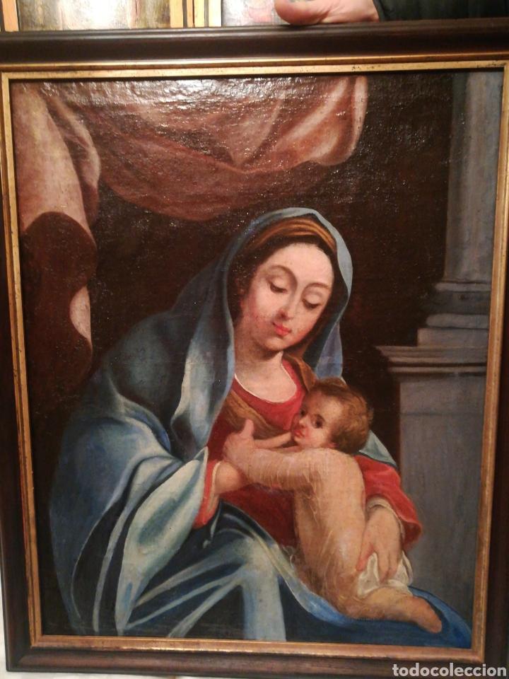 VIRGEN CON NIÑO ESCUELA ITALIANA DEL XVII (Arte - Pintura - Pintura al Óleo Antigua siglo XVII)