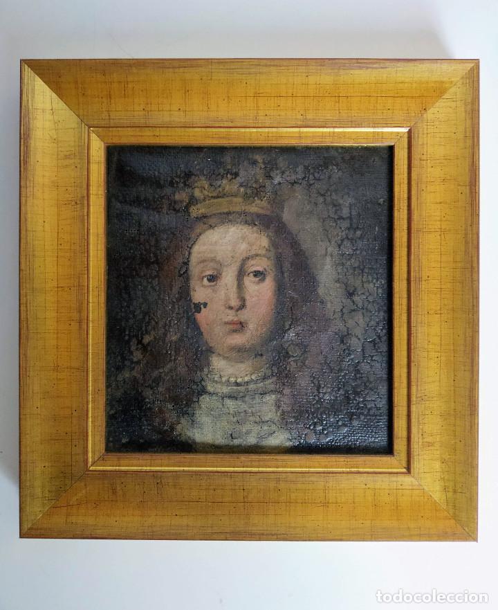 RETRATO DE DAMA CORONADA, SIGLO XVI - XVII (Arte - Pintura - Pintura al Óleo Antigua siglo XVI)