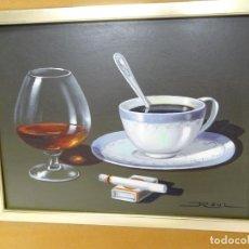 Arte: CAFÉ, COPA Y TABACO - BODEGÓN O NATURALEZA MUERTA - RAUL MARTINEZ ILDEFORN - OLOT 1933-2006. Lote 185966218