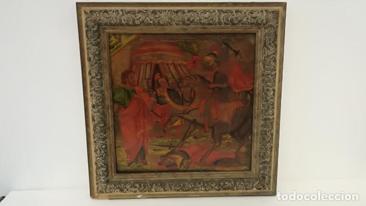 OLEO SOBRE TABLA BATALLA SIGLO XVIII (Arte - Pintura - Pintura al Óleo Antigua siglo XVIII)