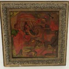 Arte: OLEO SOBRE TABLA BATALLA SIGLO XVIII. Lote 185970403