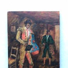 Arte: PINTURA. ÓLEO SOBRE TABLA ESCENA TAURINA. TOREO. TORERO. TAUROMAQUIA.. Lote 185977941