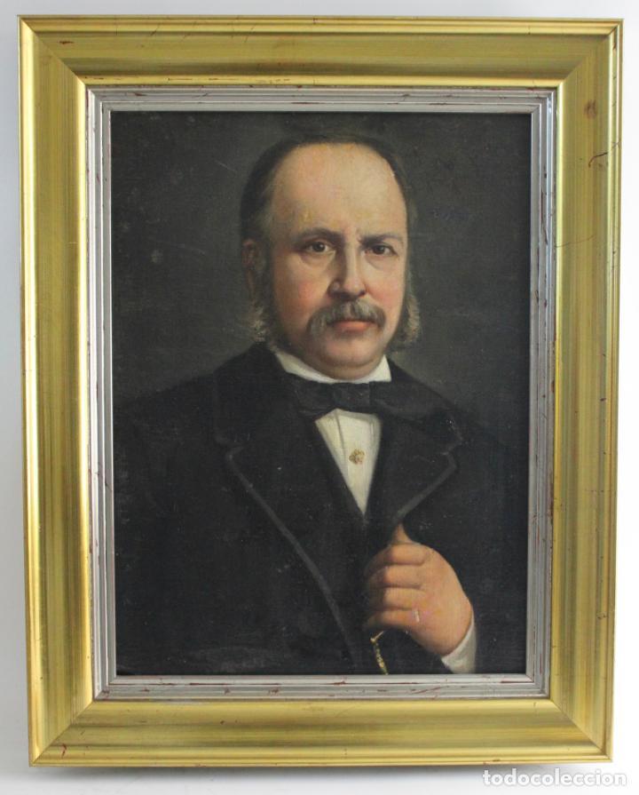 B-892. OLEO SOBRE LIENZO, RETRATO CABALLERO. S.XIX. (Arte - Pintura - Pintura al Óleo Moderna siglo XIX)
