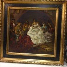 Arte: OLEO GITANAS BANDOLEROS EN TABLAO-TABERNA. FIRMADO. Lote 185990573