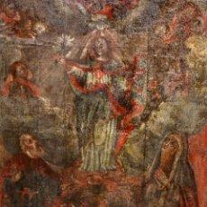 Arte: ADORACIÓN DE LA VIRGEN - OLEO LIENZO - ESCUELA COLONIAL - SG XVIII - 1.18 X 87,7 CM.. Lote 186004630