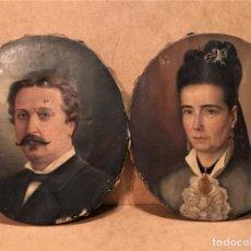Arte: PAREJA DE RETRATOS POR ENRIQUE PULLEIRO (LA CORUÑA S XIX). Lote 186031011