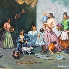 Arte: CUADRO AL ÓLEO SOBRE LIENZO. ESCENA COSTUMBRISTA. FIRMADO Y ENMARCADO.. Lote 186081170