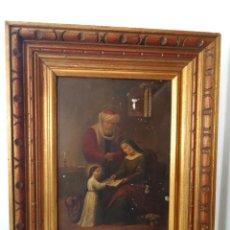 Arte: ANTIGUO OLEO SOBRE PLANCHA METÁLICA SANTA ANA Y SAN JOAQUÍN ENSEÑANDO A LEER A LA VIRGÉN MARIA. Lote 186104641