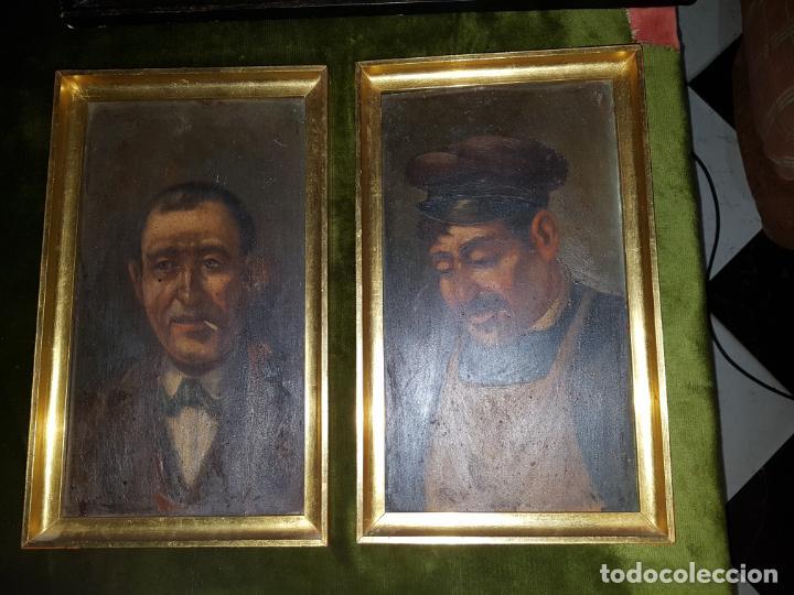 PAREJA DE OLEOS SOBRE TABLAS. SIGLO XIX (Arte - Pintura - Pintura al Óleo Antigua sin fecha definida)