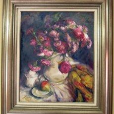 Arte: OLEO SOBRE LIENZO LLANOS OBRA FLORES. Lote 186156453
