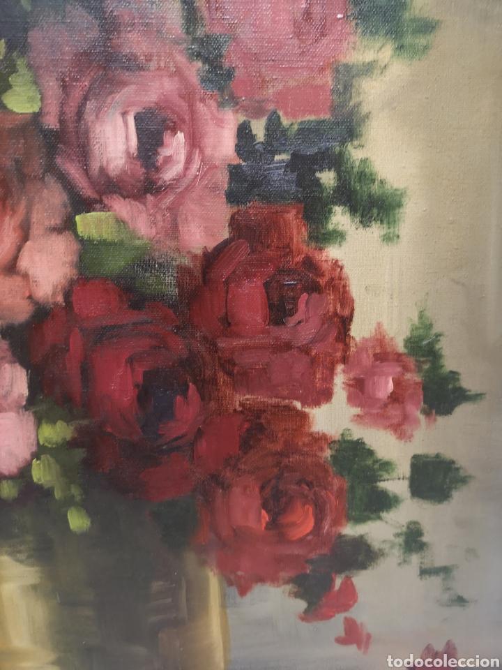 Arte: Florero de flores. Oleo sobre lienzo formado - Foto 2 - 186173726