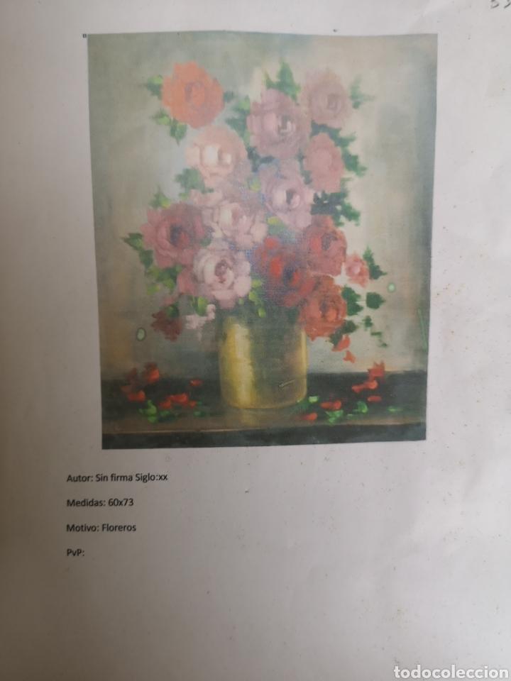 Arte: Florero de flores. Oleo sobre lienzo formado - Foto 3 - 186173726