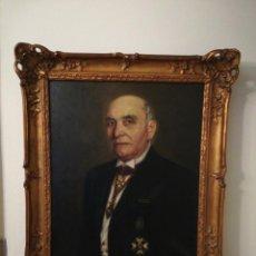Arte: OLEO SOBRE LIENZO RETRATO CABALLERO CON MEDALLA AYUNTAMIENTO BARCELONA. Lote 186187195