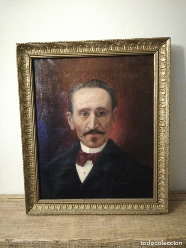 OLEO SOBRE LIENZO RETRATO CABALLERO (Arte - Pintura - Pintura al Óleo Moderna siglo XIX)