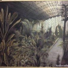 Arte: JARDIN DE ATOCHA, ÓLEO SOBRE LIENZO. GRAN FORMATO, 94 X 75 CM.. Lote 186191177