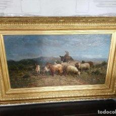 Arte: OLEO LIENZO PASTOR CON REBAÑO DE OVEJAS, FIRMADO FRANÇOIS SIMON, MARCO DORADO. Lote 186305737