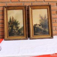 Arte: PAREJA DE OLEOS DE BENET MERCADE SIGLO XIX. Lote 186324133