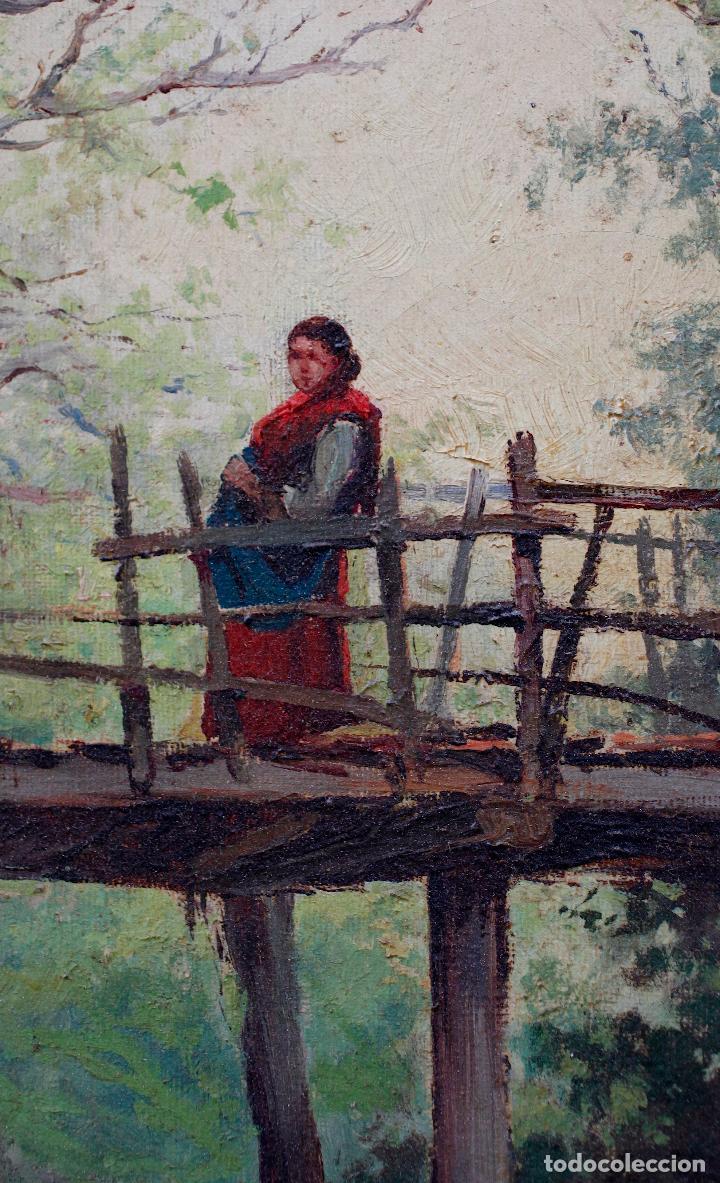 Arte: Pintura al óleo sobre tela, siglo XIX, paisaje con puente y mujer, firmado R. Alós. 81,5x51,5cm - Foto 2 - 186387363