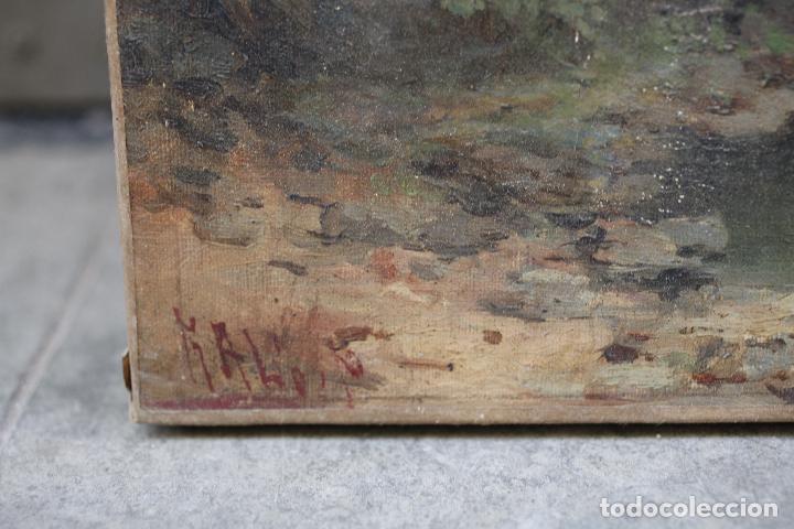 Arte: Pintura al óleo sobre tela, siglo XIX, paisaje con puente y mujer, firmado R. Alós. 81,5x51,5cm - Foto 3 - 186387363