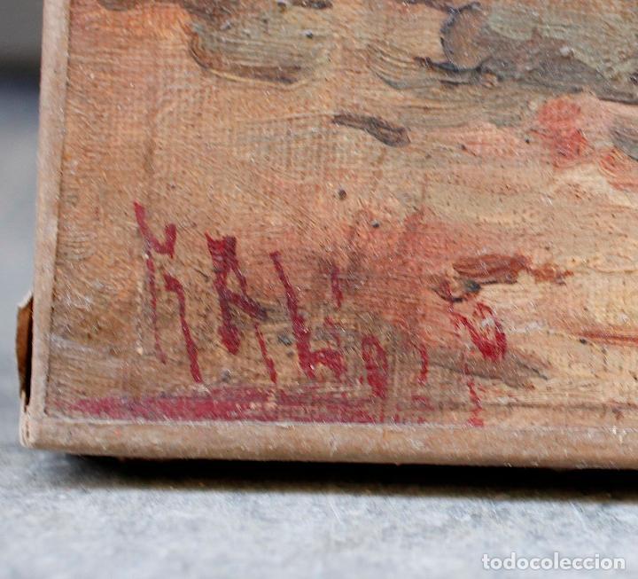 Arte: Pintura al óleo sobre tela, siglo XIX, paisaje con puente y mujer, firmado R. Alós. 81,5x51,5cm - Foto 4 - 186387363