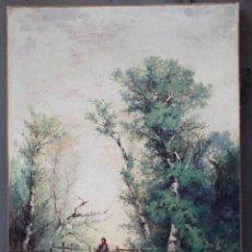 Arte: PINTURA AL ÓLEO SOBRE TELA, SIGLO XIX, PAISAJE CON PUENTE Y MUJER, FIRMADO R. ALÓS. 81,5X51,5CM. Lote 186387363