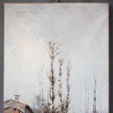 Arte: PINTURA AL ÓLEO SOBRE TELA, SIGLO XIX, PAISAJE CON CASA Y PERSONAS, FIRMADO R. ALÓS. 81,5X51,5CM. Lote 186387825