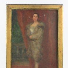 Arte: RETRATO MUJER, FIRMA ILEGIBLE, 1923, PINTURA AL ÓLEO SOBRE TABLA, CON MARCO. 34X22CM. Lote 186399890