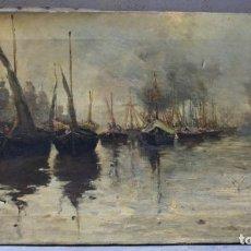 Arte: BATALLA, MAR Y BARCOS, SIN FIRMAR, PINTURA AL ÓLEO SOBRE TELA. 74X41CM. Lote 186731796