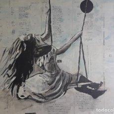 Arte: EL COLUMPIO. ACRÍLICO SOBRE HOJAS PEGADAS A LIENZO 80 X 60 CM. MANOLO IBÁÑEZ. Lote 186788685