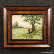 Arte: PINTURA ITALIANA DE PAISAJE CON PERSONAJES DE ESTILO IMPRESIONISTA. Lote 187083067