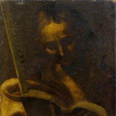 Arte: ÓLEO SOBRE LIENZO PEGADO A TABLA SAN TIRSO ESCUELA ESPAÑOLA SIGLO XVII. Lote 187112858