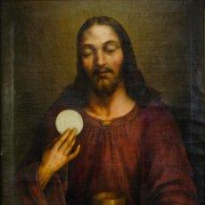 Arte: ÓLEO SOBRE LIENZO EL SALVADOR CON LA EUCARISTIA ESCUELA ESPAÑOLA SIGLO XVIII-XIX. Lote 289777063