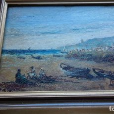 Arte: PAISAJE COSTERO CATALÁN SOBRE MADERA XIX. Lote 187150163