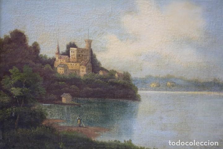 Arte: Paisaje, lago, bosque y personaje, siglo XIX, pintura al óleo sobre tabla, sin firmar, con marco. - Foto 3 - 187158480