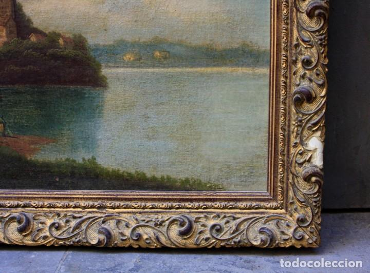 Arte: Paisaje, lago, bosque y personaje, siglo XIX, pintura al óleo sobre tabla, sin firmar, con marco. - Foto 2 - 187158480