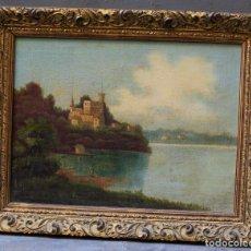 Arte: PAISAJE, LAGO, BOSQUE Y PERSONAJE, SIGLO XIX, PINTURA AL ÓLEO SOBRE TABLA, SIN FIRMAR, CON MARCO.. Lote 187158480