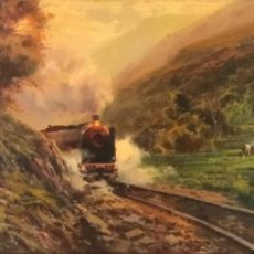 Arte: PAISAJE, OLEO SOBRE LIENZO. ESCUELA OLOTINA FIRMADO. . Lote 187297367