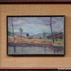 Arte: PAISAJE, ÁRBOLES Y CASA, FIRMADO S. PADRÓS, PINTURA AL ÓLEO SOBRE TELA, CON MARCO. 34X23CM. Lote 187315981