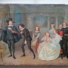 Arte: CUADRO DE ANTONIO PÉREZ RUBIO. QUEVEDO Y SU FAMILIA POSANDO PARA SER RETRATADOS. Lote 187326682