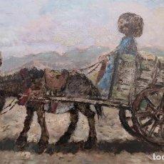 Arte: PREGO DE OLIVER, MANUEL. (OURENSE, 1915-1986) A NENA NO CARRO. ÓLEO SOBRE TABLA.. Lote 187385608