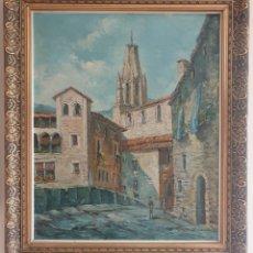 Arte: ZAWACKI - VISTA A LO LARGO DE LA SUBIDA DE SAN FELIX,GERONA.OLEO/TELA.FIRMADO.. Lote 187399702
