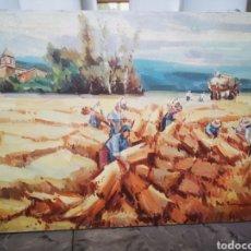 Arte: ÓLEO SOBRE LIENZO CAMPESINOS TRABAJANDO EN EL CAMPO FIRMA ILEGIBLE 39X30CM. Lote 187509011
