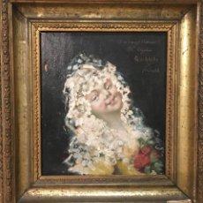Arte: MANOLA CON MANTILLA,POR LUIS GÓMEZ DE ARTECHE EN 1883 DEDICADO A ANTONIO MARÍA EGAÑA. Lote 187538133