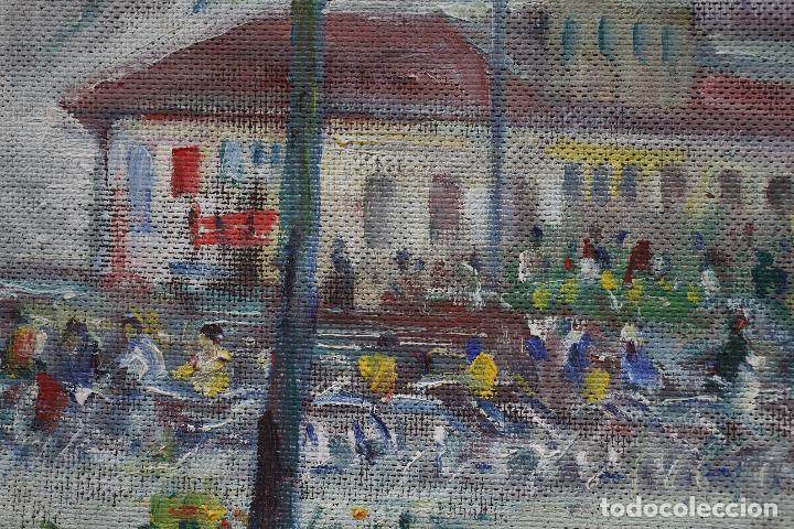 Arte: Kallinik Gousseff, plaza con personas, 1975, pintura al óleo sobre tela, con marco. 52x25,5cm - Foto 2 - 187568921