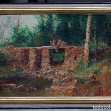 Arte: JOSEP ARMET (1843 - 1911), BOSQUE, PUENTE Y PERSONAJES, PINTURA AL ÓLEO SOBRE TELA, CON MARCO.. Lote 187570036