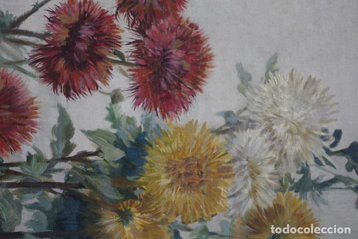 Arte: Aureli Tolosa (1861 - 1938), flores, pintura al óleo sobre tela. 125x46cm - Foto 3 - 187571006