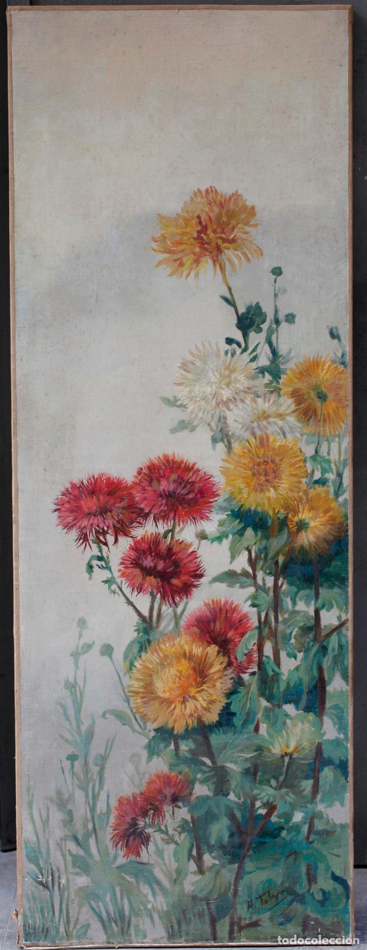 AURELI TOLOSA (1861 - 1938), FLORES, PINTURA AL ÓLEO SOBRE TELA. 125X46CM (Arte - Pintura - Pintura al Óleo Contemporánea )